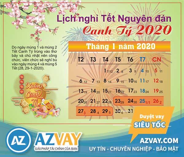 Lịch nghỉ Tết Nguyên Đán Canh Tý năm 2020