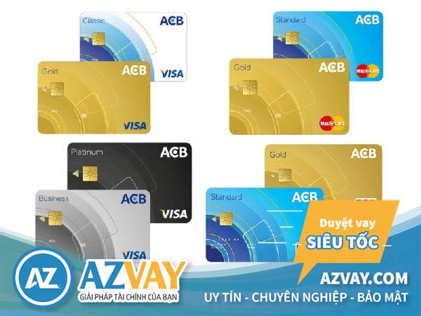 Các loại thẻ tín dụng ACB